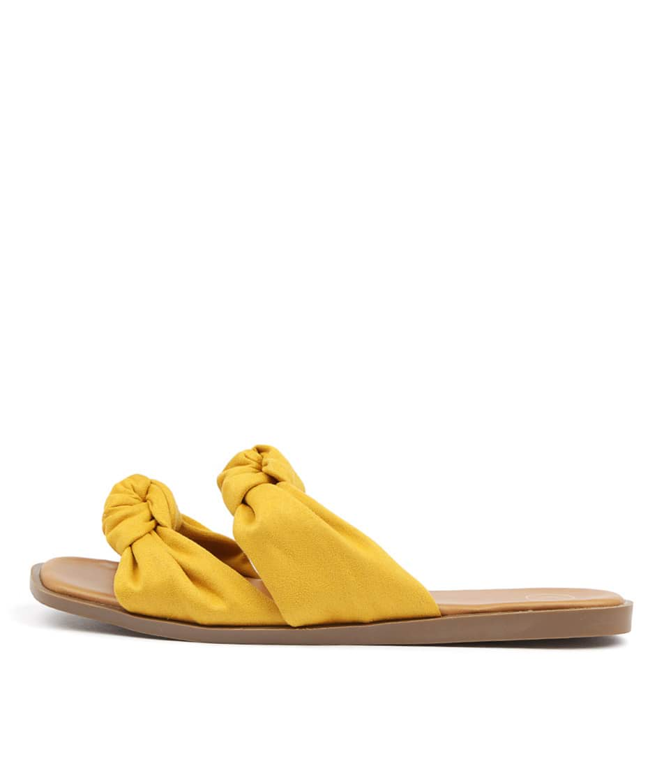 Buy Ko Fashion Edwa W Dk Yellow Tan Flat Sandals online with free shipping