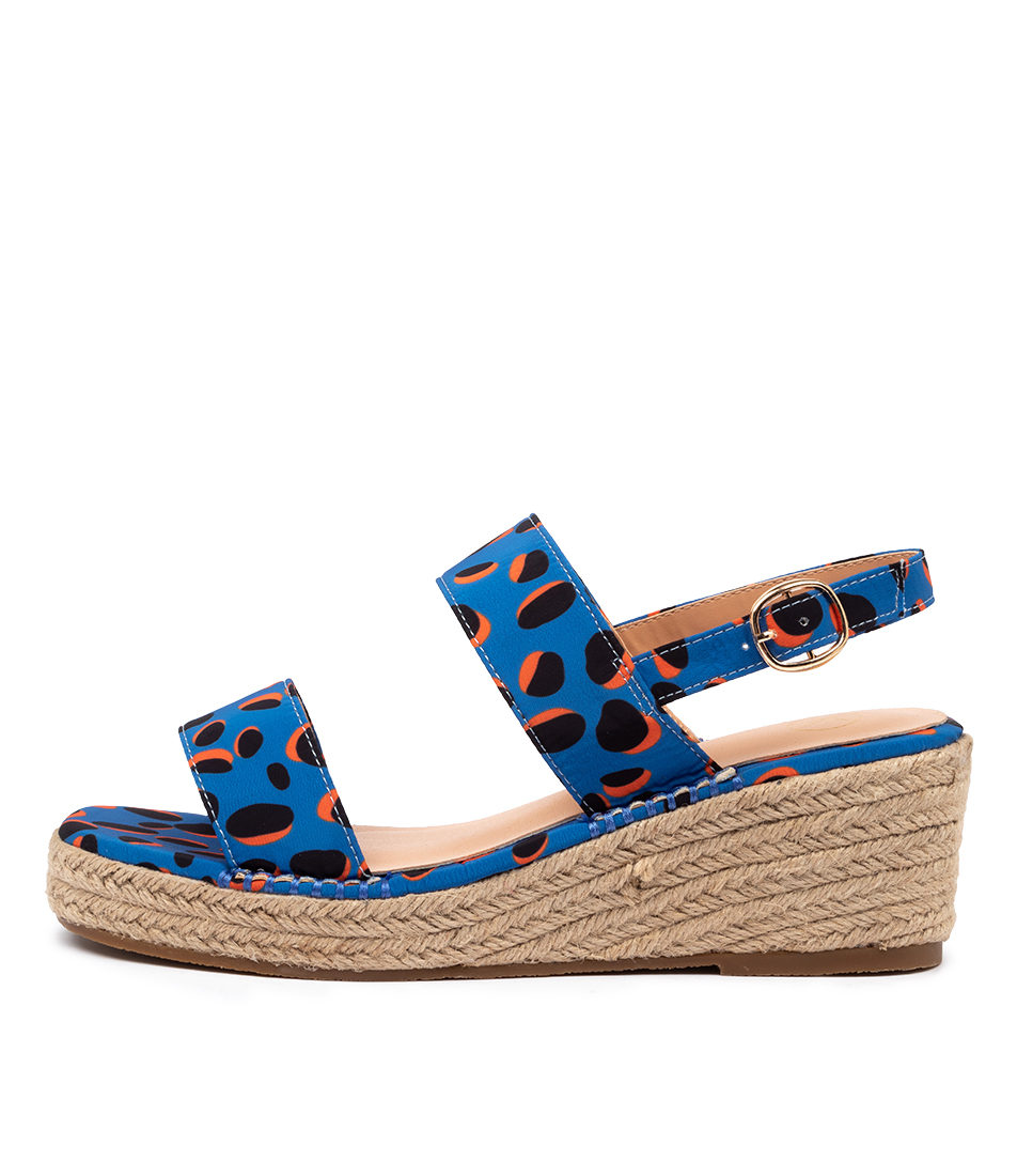 Buy Ko Fashion Ashli W Kf Blue Retro Animal Heeled Sandals online with free shipping