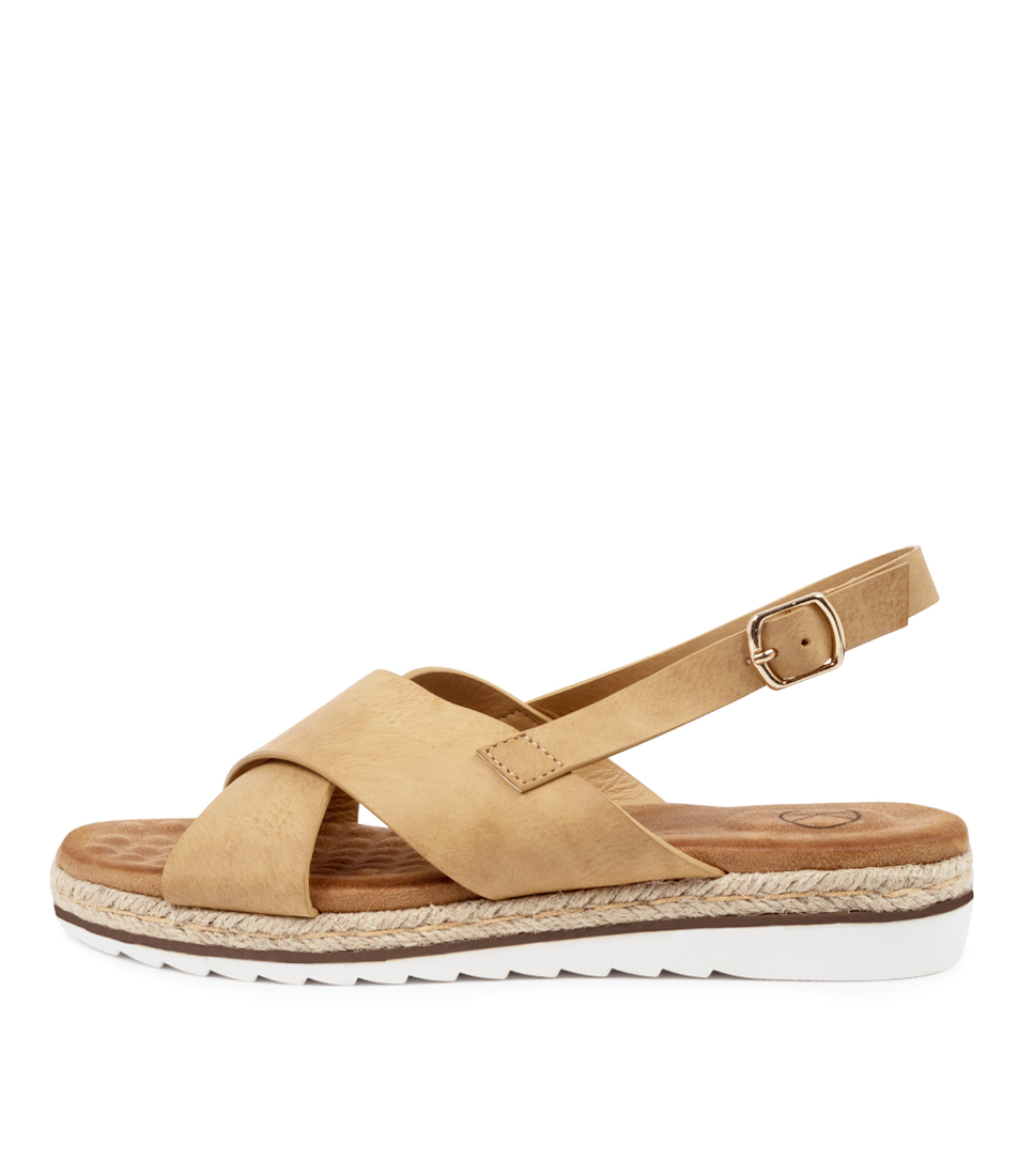 Buy Ko Fashion Paige W Kf Camel Flat Sandals online with free shipping