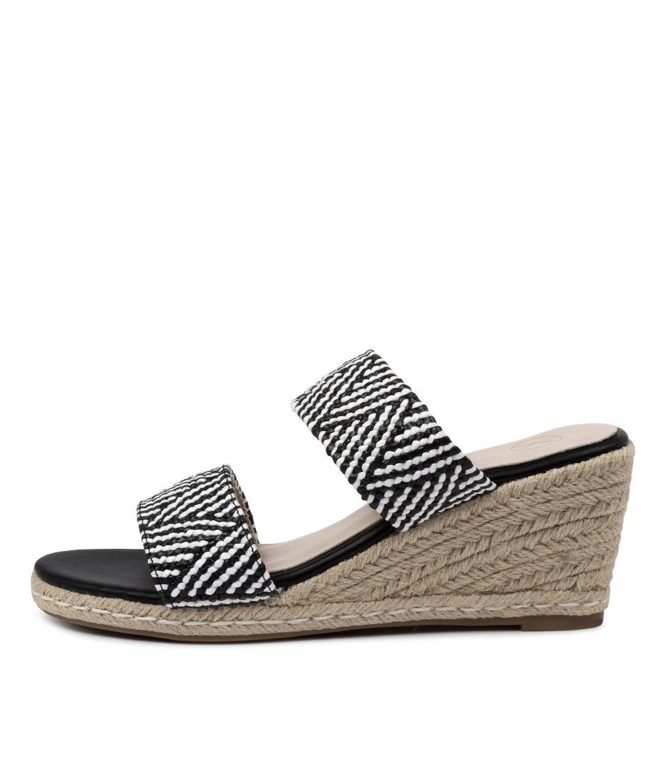 Buy Ko Fashion Alma Ko Black White Heeled Sandals online with free shipping