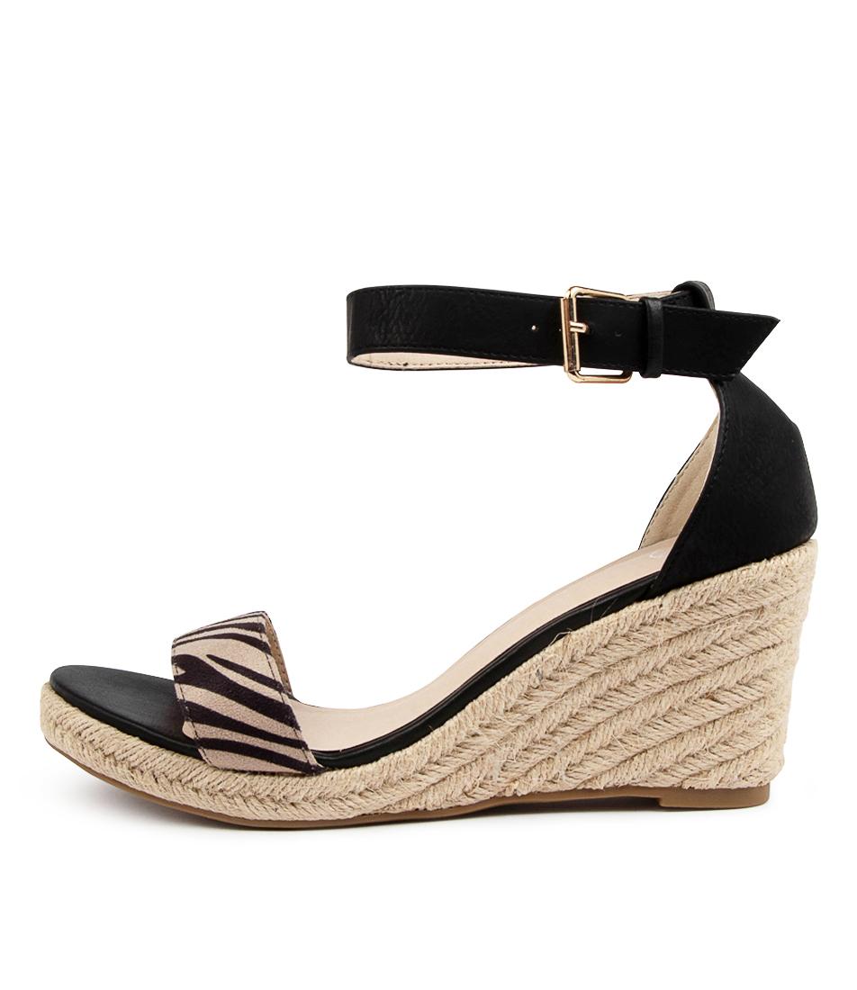 Buy Ko Fashion Aimey W Kf Black Zebra Heeled Sandals online with free shipping