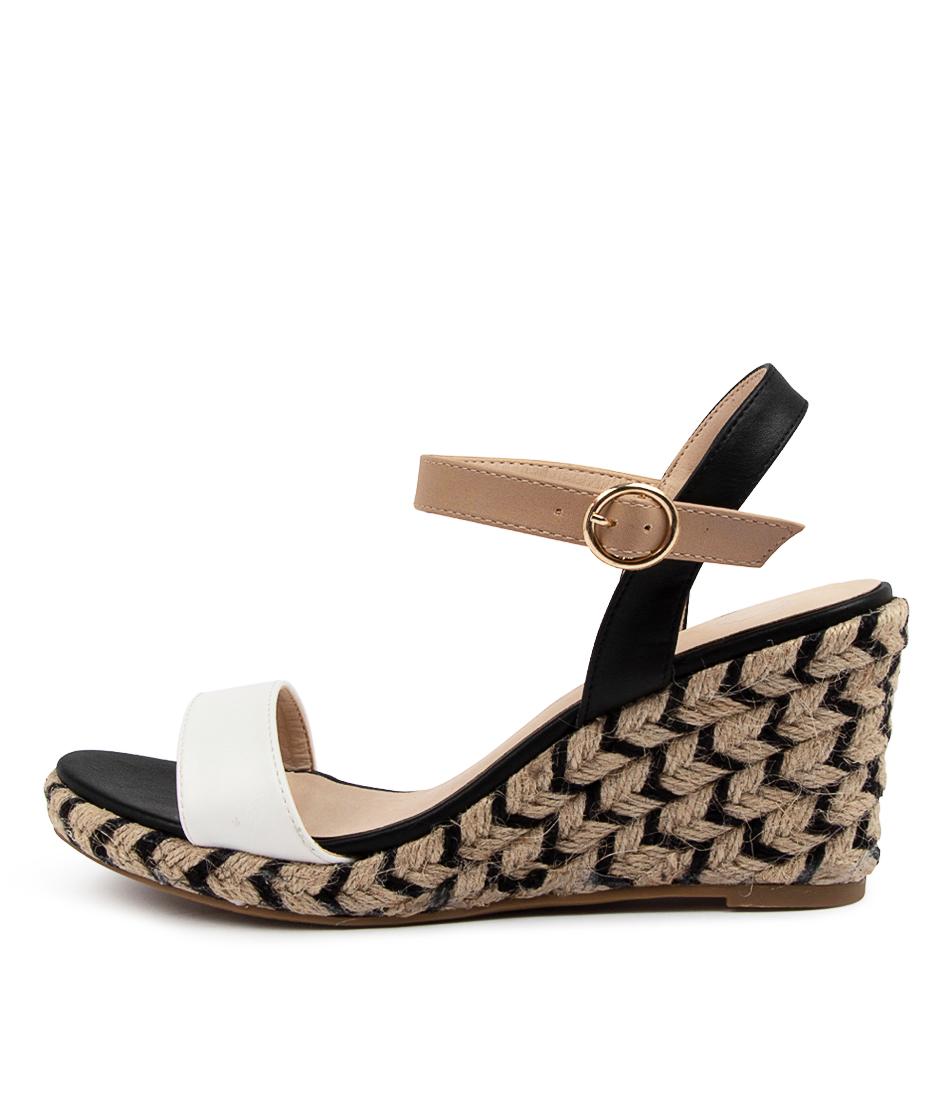 Buy Ko Fashion Almond W Kf Black Beige White Heeled Sandals online with free shipping