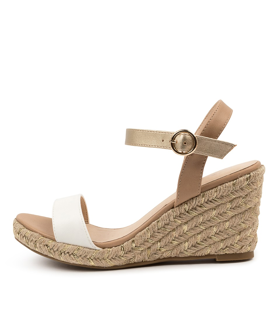 Buy Ko Fashion Almond W Kf Beige Gold White Heeled Sandals online with free shipping