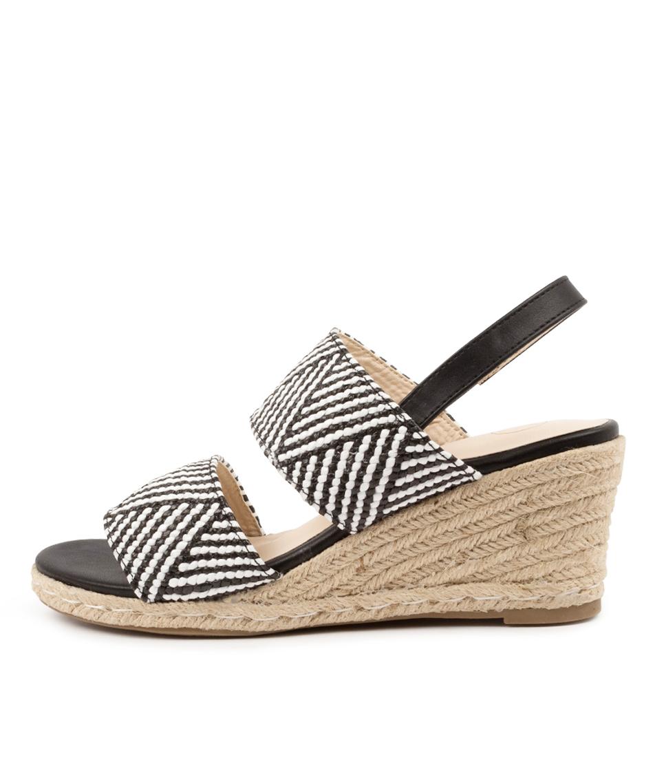 Buy Ko Fashion Archibald W Kf Black White Geo Heeled Sandals online with free shipping