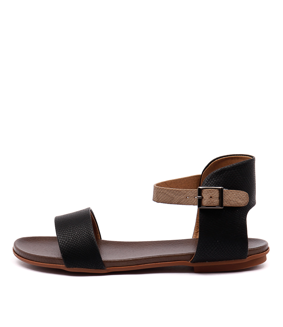 Ko Fashion Ronnie Black Taupe Flat Sandals