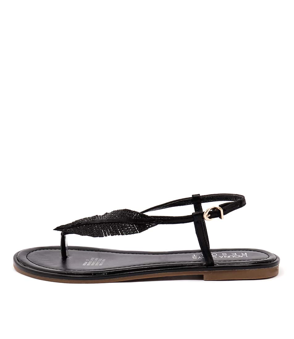 Laguna Quays Katya W Black Casual Flat Sandals