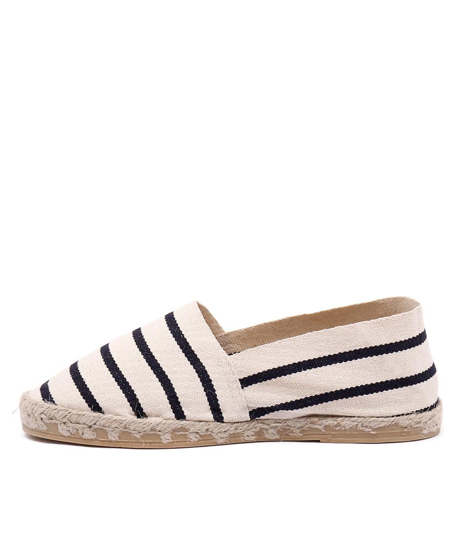La Maison De L'espadrille 320 Ecru Marine Flat Shoes