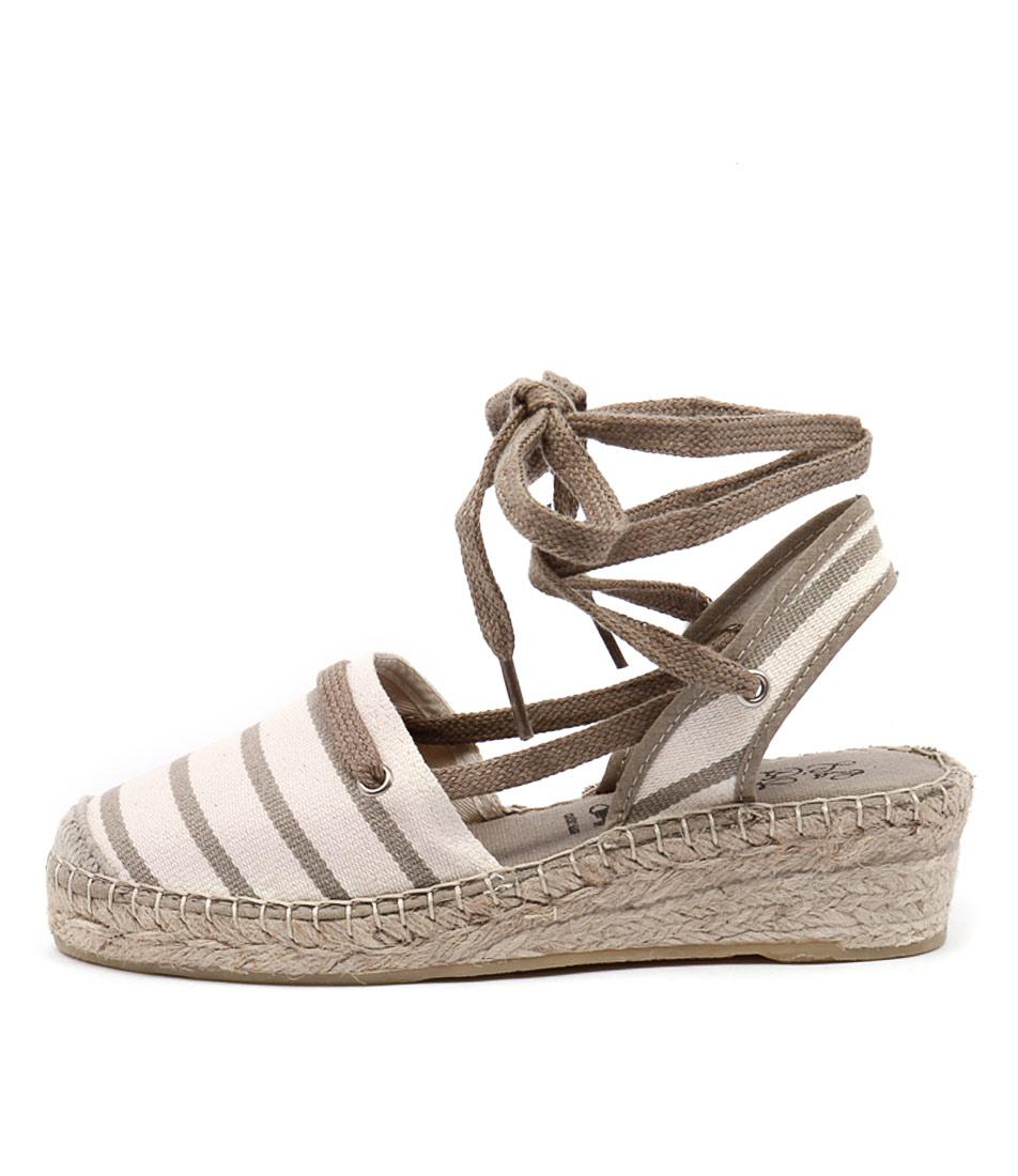 La Maison De L'espadrille 546 Ecru Linen Casual Heeled Sandals
