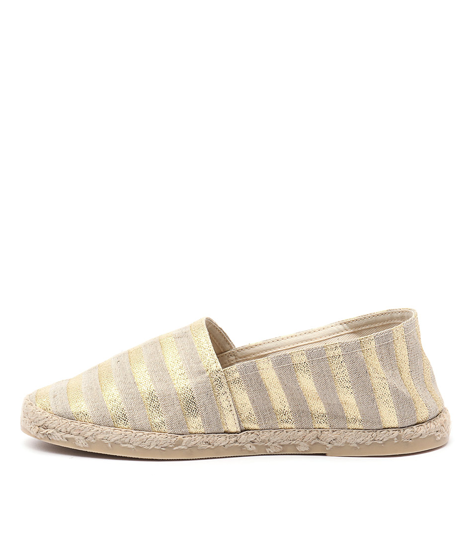 La Maison De L'espadrille 324 Or Flat Shoes