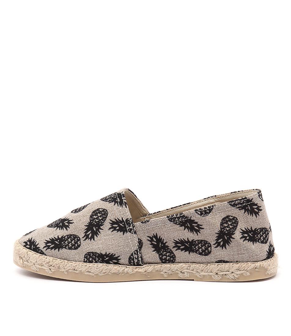 La Maison De L'espadrille 324 Ananas Noir Casual Flat Shoes