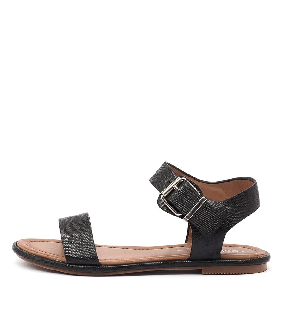 Los Cabos Riva W Black Casual Flat Sandals