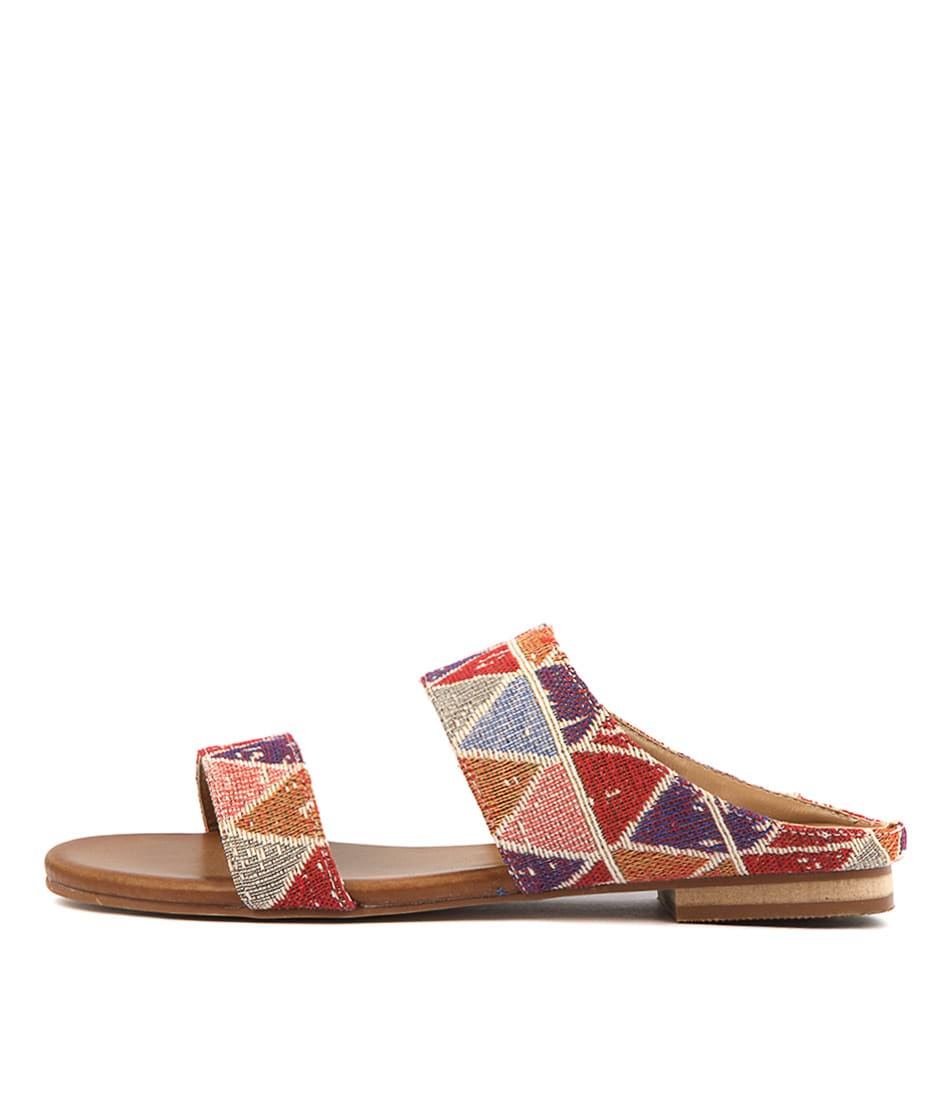 Buy Los Cabos Molly W Red Multi Flat Sandals online with free shipping