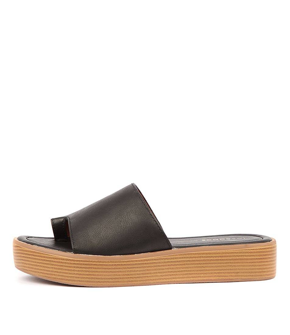 Buy Los Cabos Mon W Black Flat Sandals online with free shipping