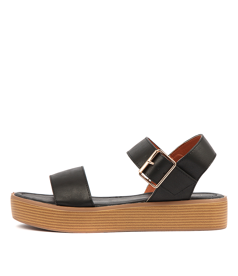 Buy Los Cabos Moni W Black Flat Sandals online with free shipping