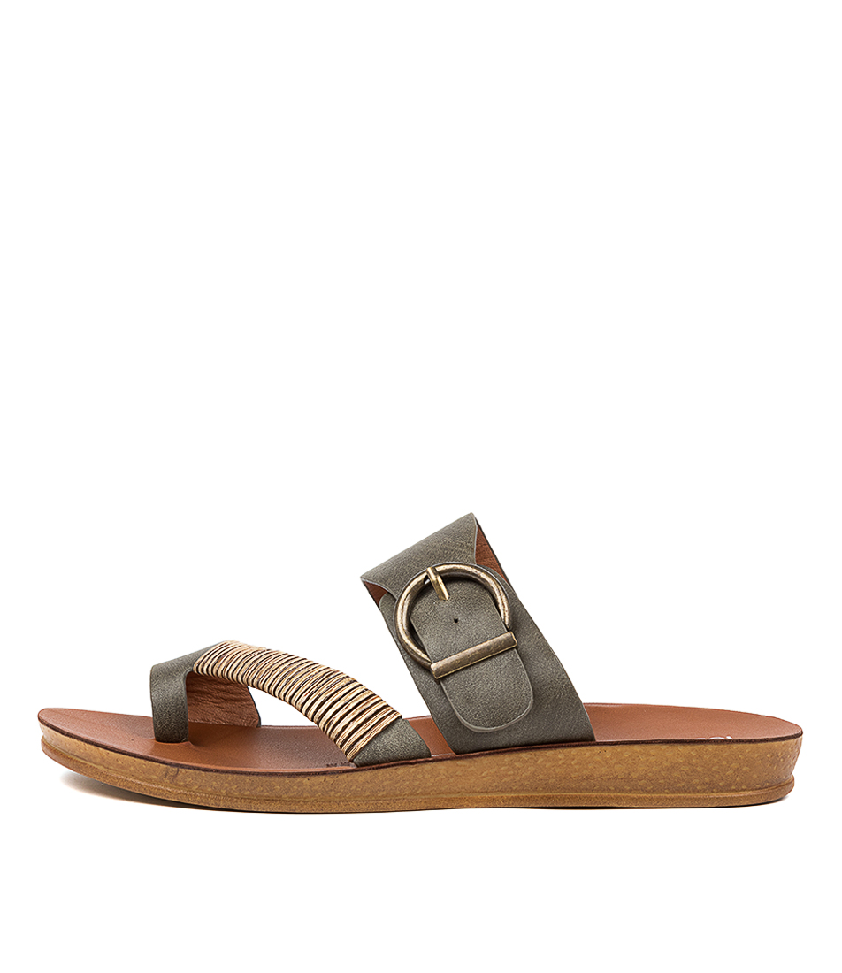 Buy Los Cabos Bria W Lc Khaki Flat Sandals online with free shipping
