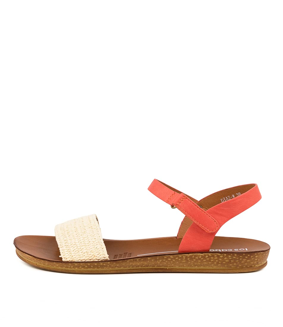 Buy Los Cabos Diaz W Lc Beige Orange Flat Sandals online with free shipping