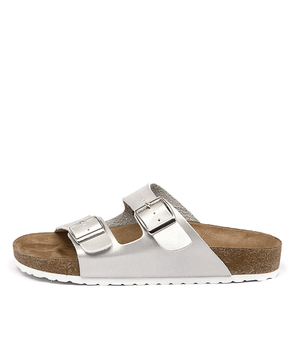 Lipstik Toffee Silver Casual Flat Sandals