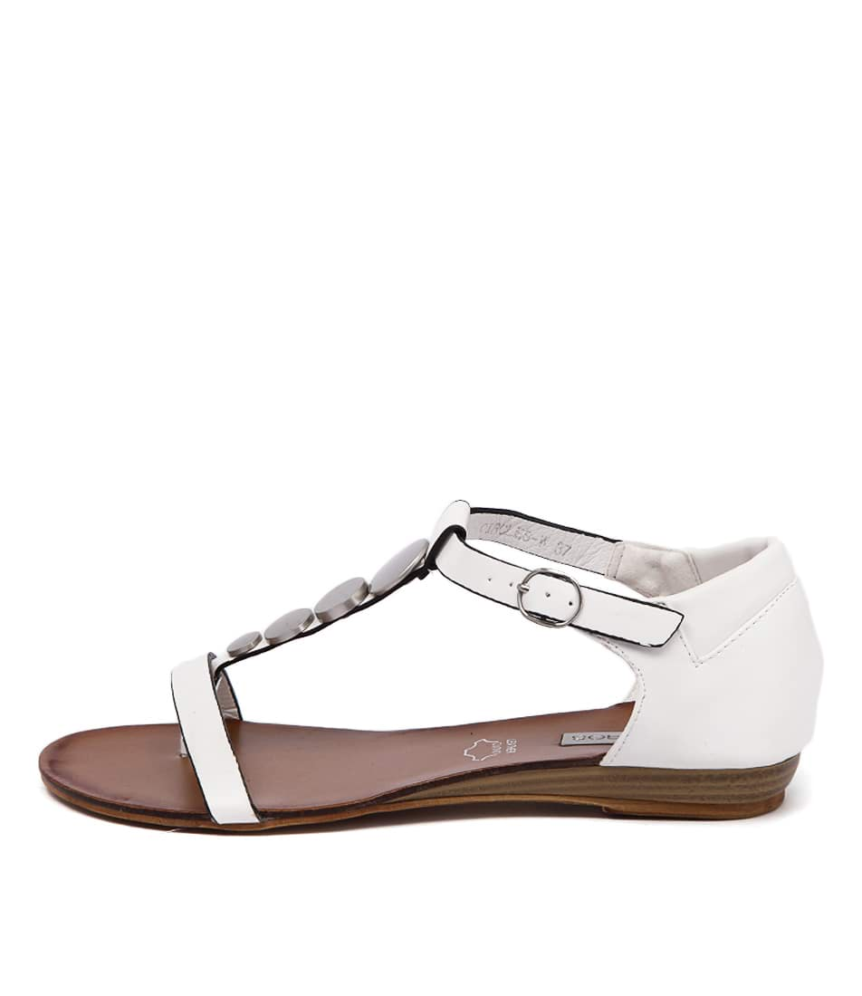 Los Cabos Circles W White Silver Casual Flat Sandals