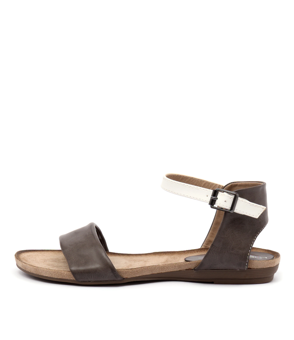 Los Cabos Del Taupe White Casual Flat Sandals