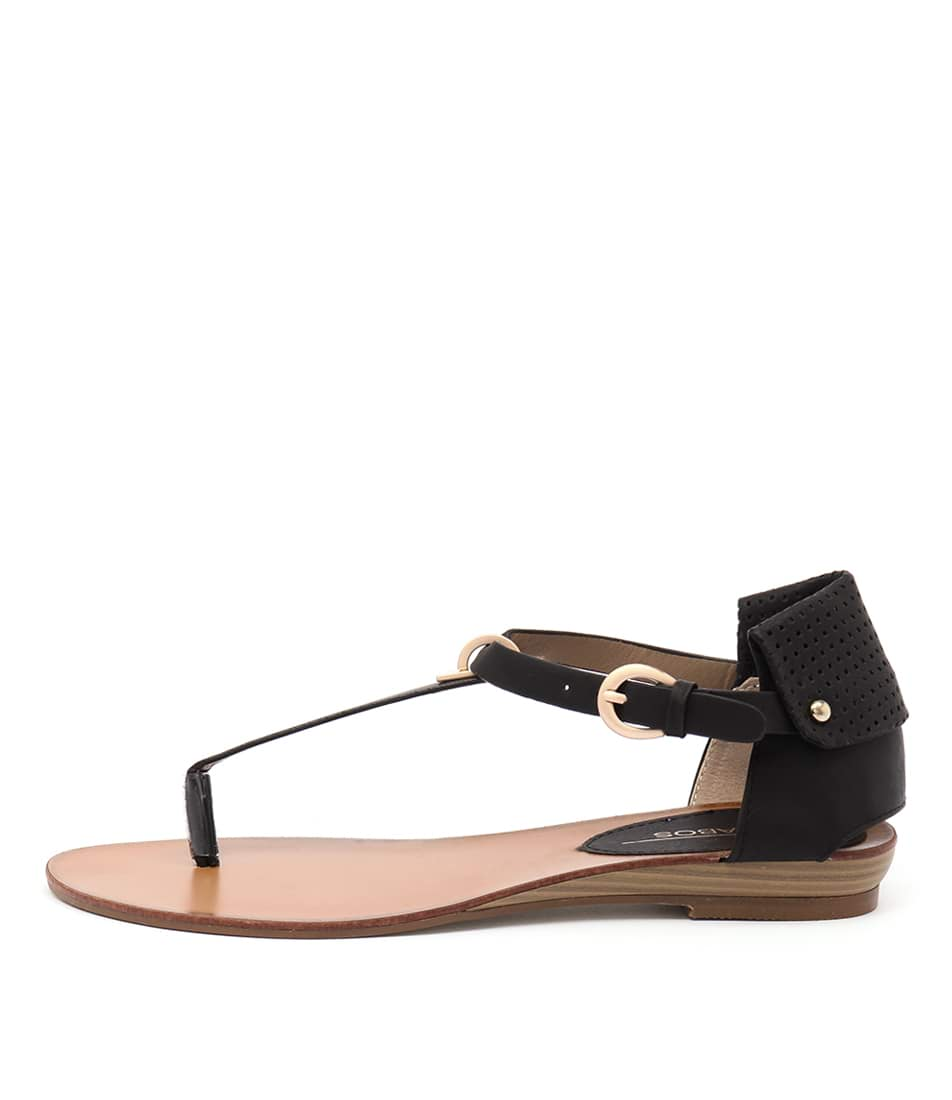 Los Cabos Ciri Black Casual Flat Sandals