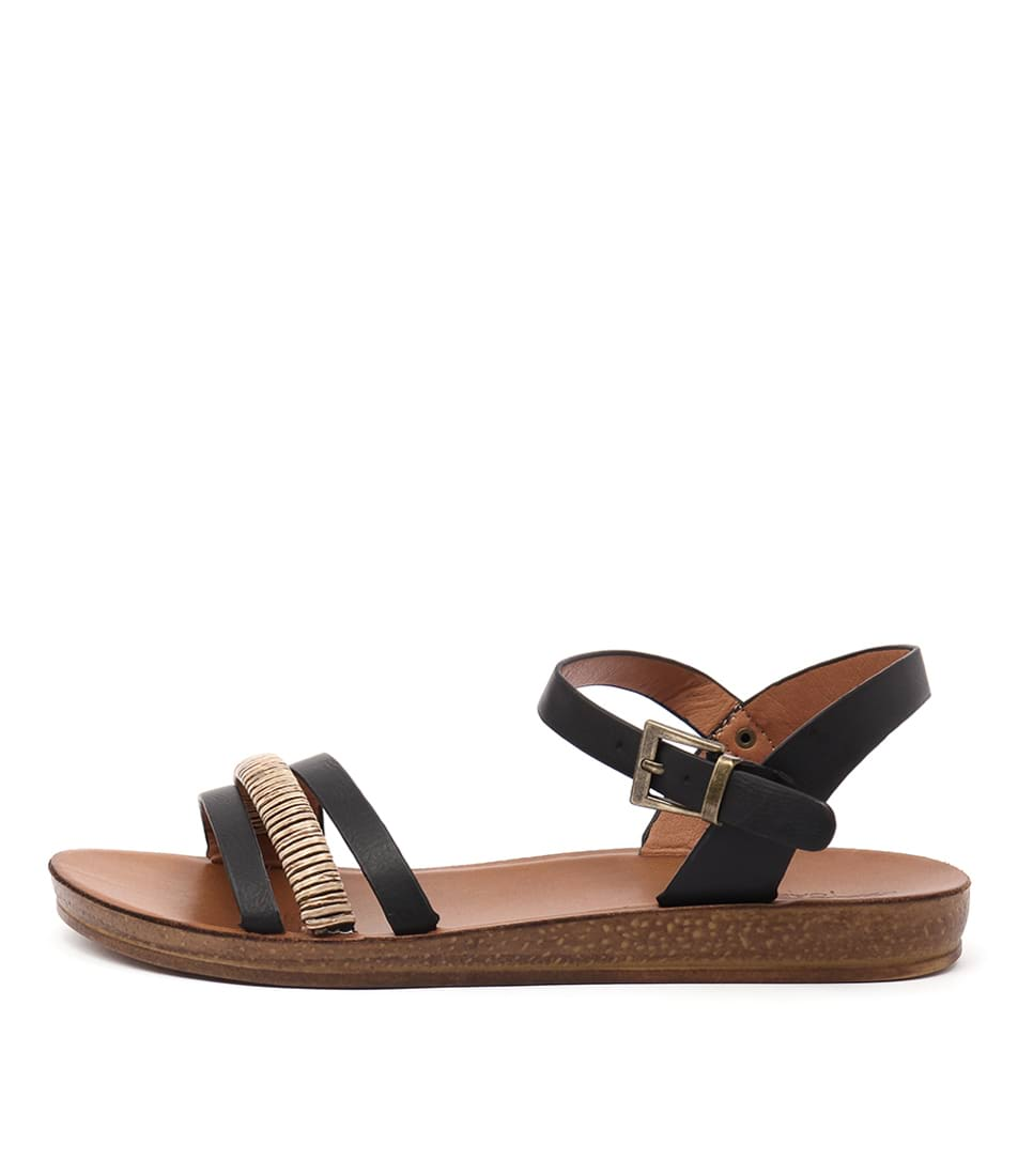 Los Cabos Breza Black Casual Flat Sandals