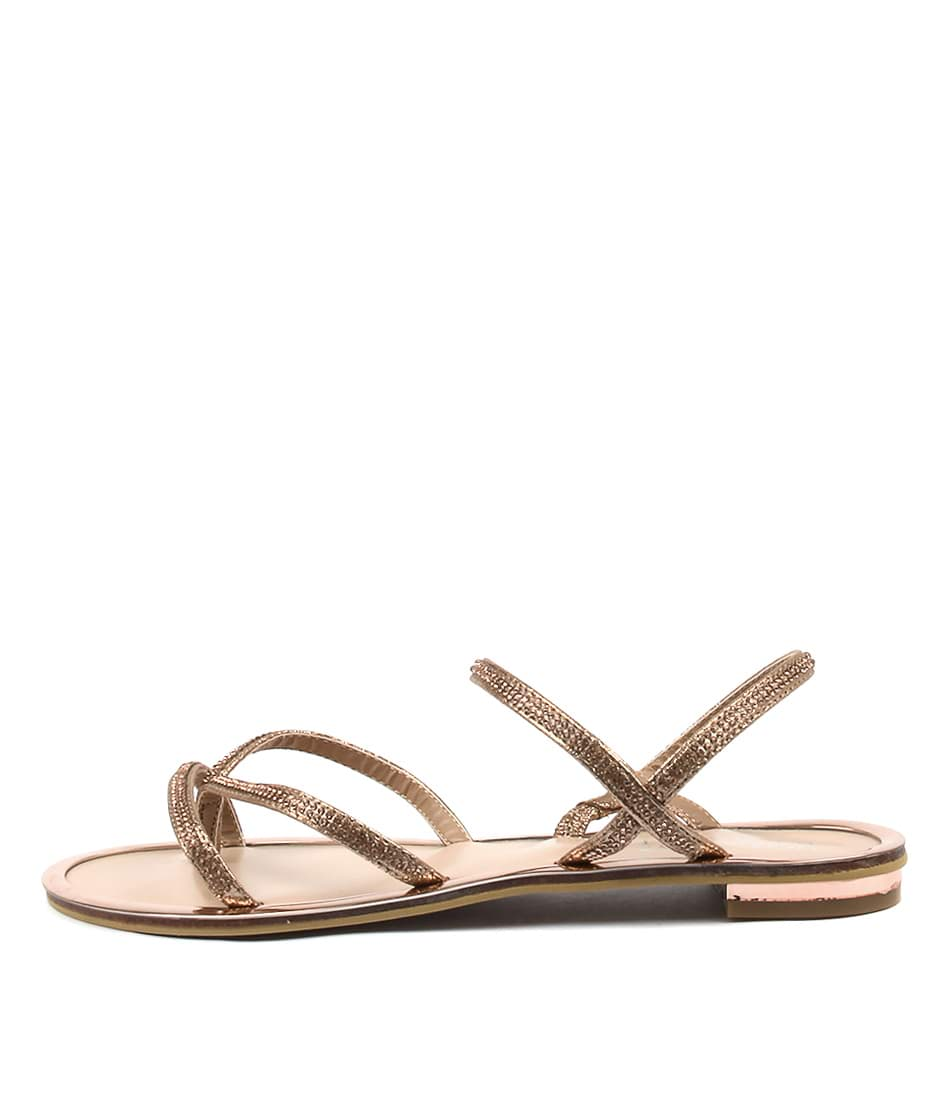 Laguna Quays Pizzeria Rose Gold Dress Flat Sandals