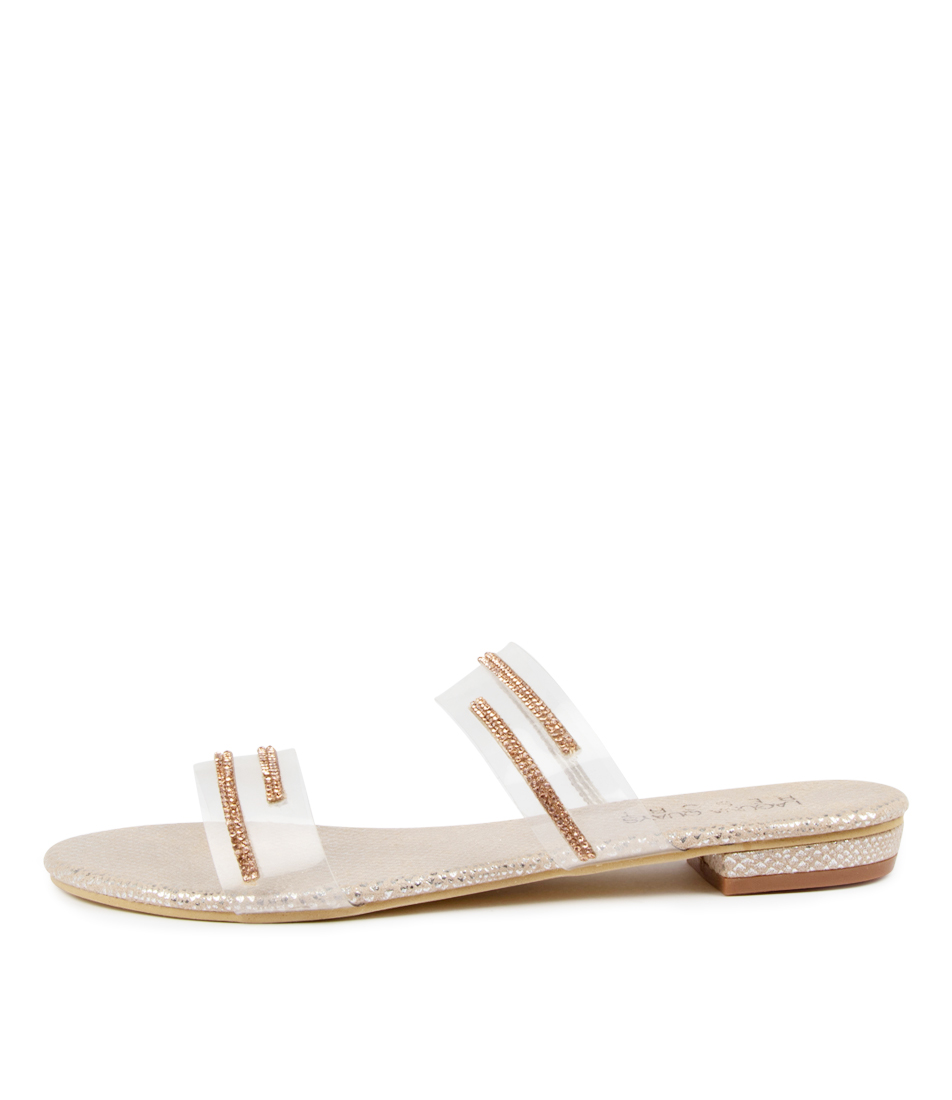 Buy Laguna Quays Goldy W Lq Rose Gold Diamonte Flat Sandals online with free shipping