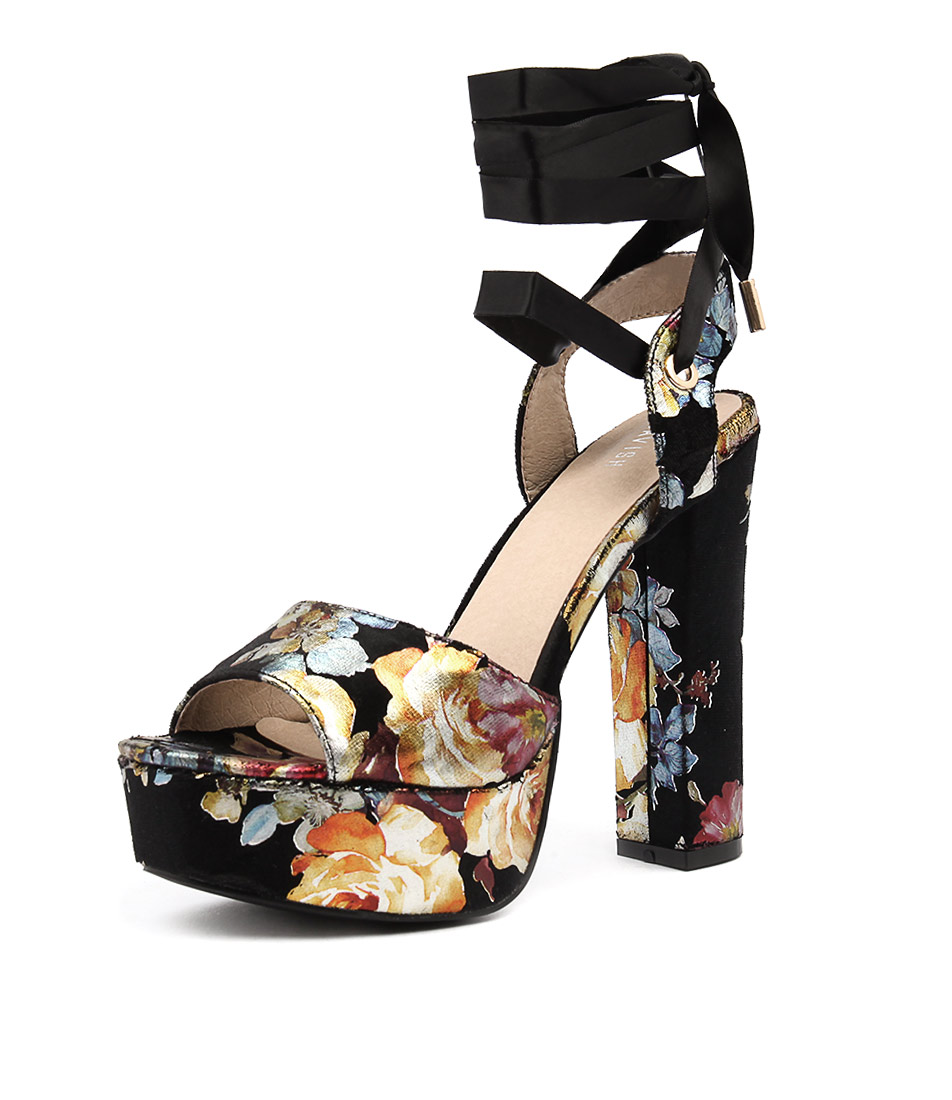 Lavish Flowers Black Gold Dress Flat Sandals