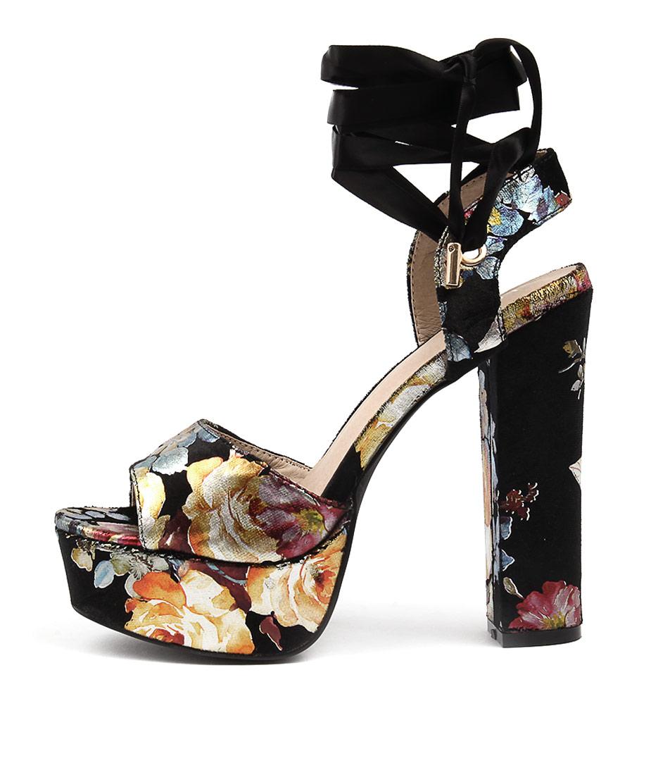 Lavish Flowers Black Gold Dress Flat Sandals