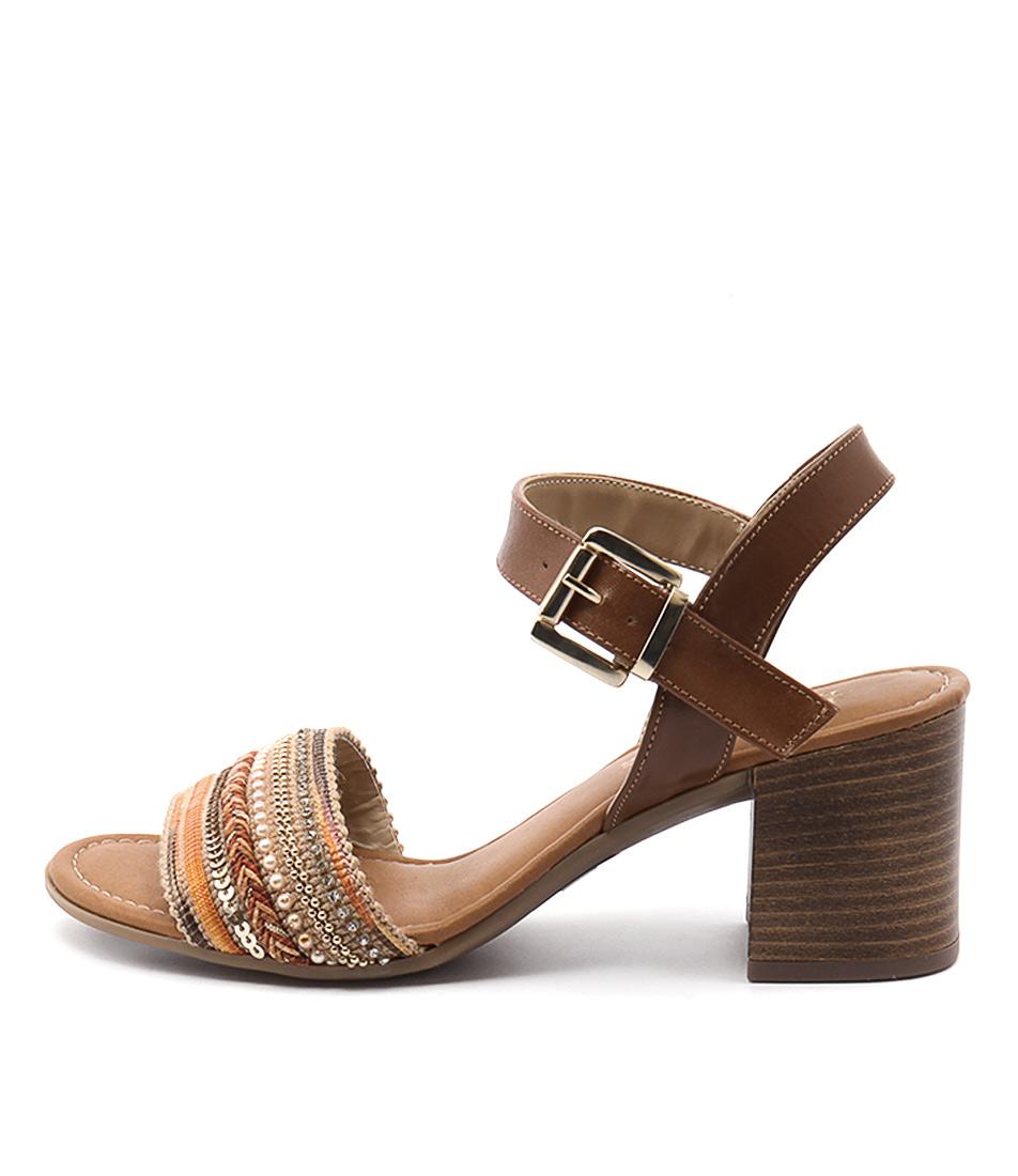 Maria Rossi Renata Ma Cuoio (Tan) Casual Heeled Sandals