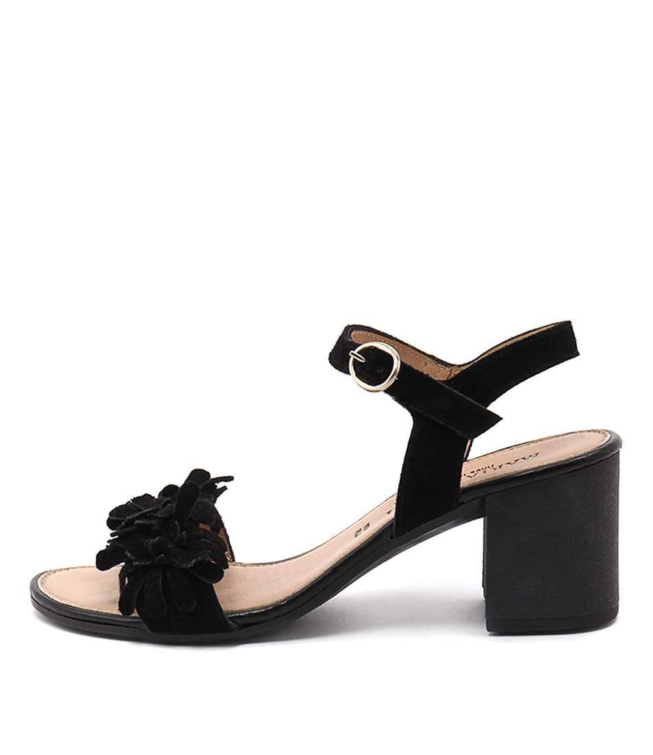 Maria Rossi Valeria Black Casual Heeled Sandals