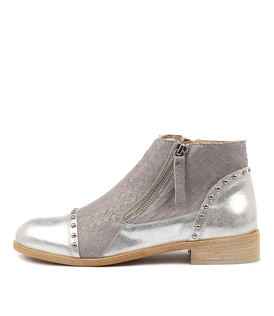 Maria Rossi Manta Grey Silver Ankle Boots