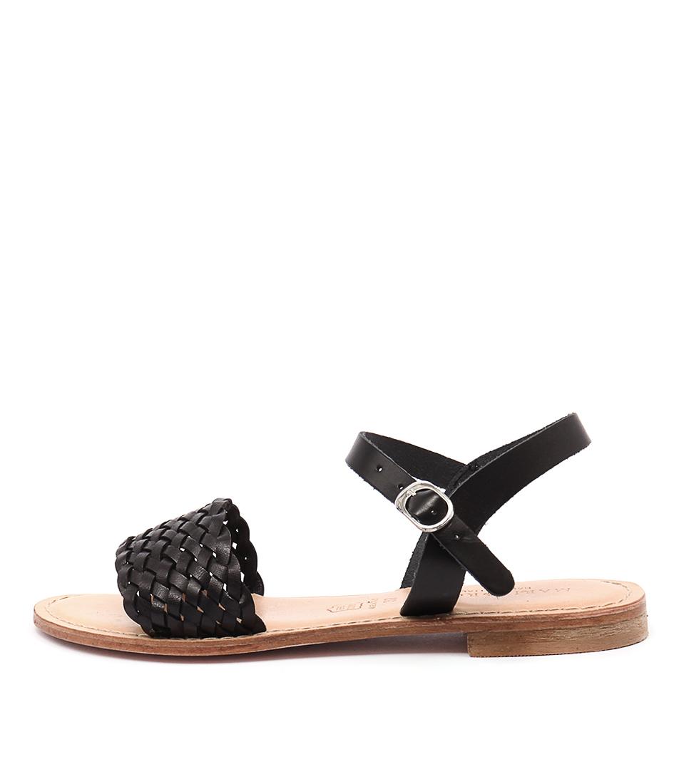 Maria Rossi Ebony Ma Vacch Black Casual Flat Sandals
