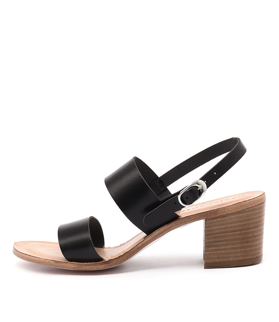 Maria Rossi Ellie Ma Vacch Black Casual Heeled Sandals