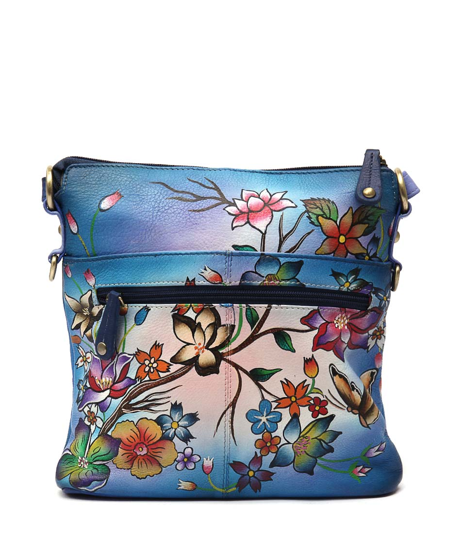 Modapelle Hand Painted Leather 2955 Midnight Cross Body Bag