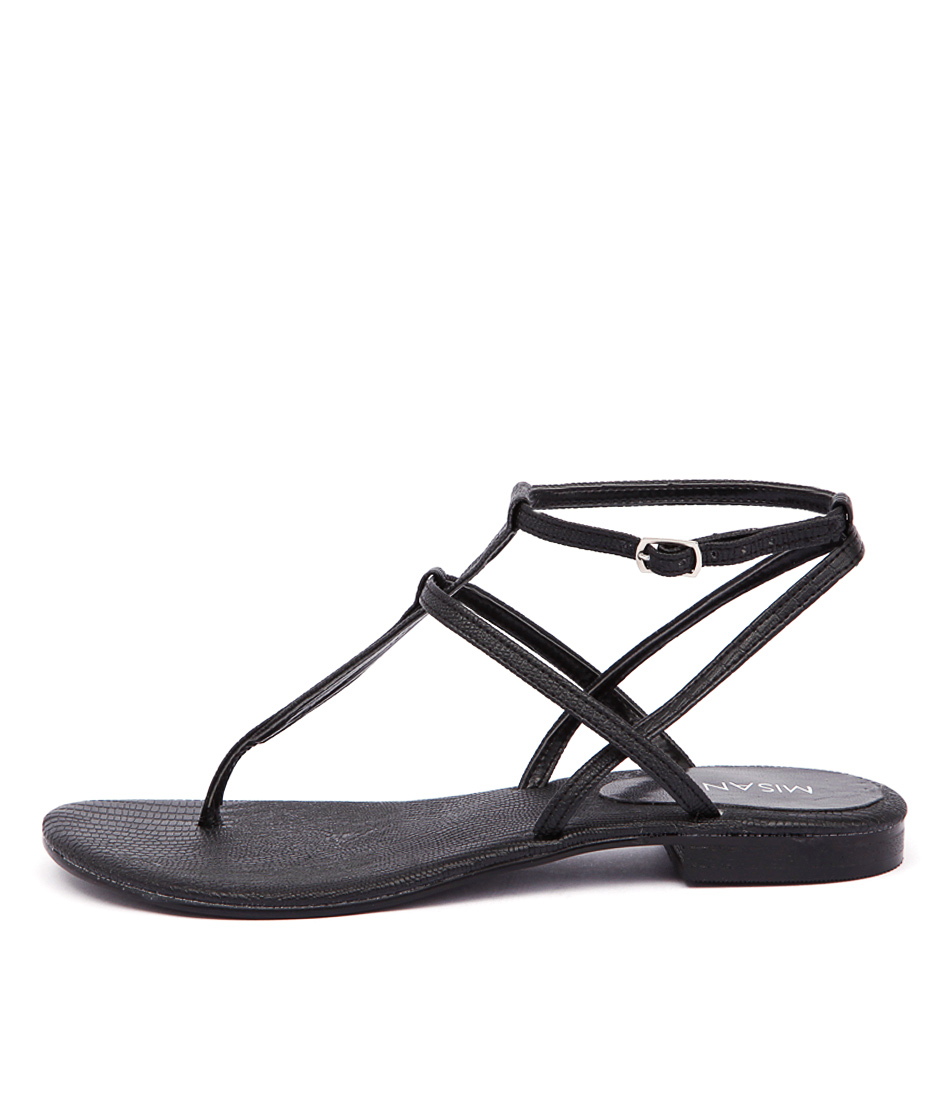 Misano Shizu Black Flat Sandals