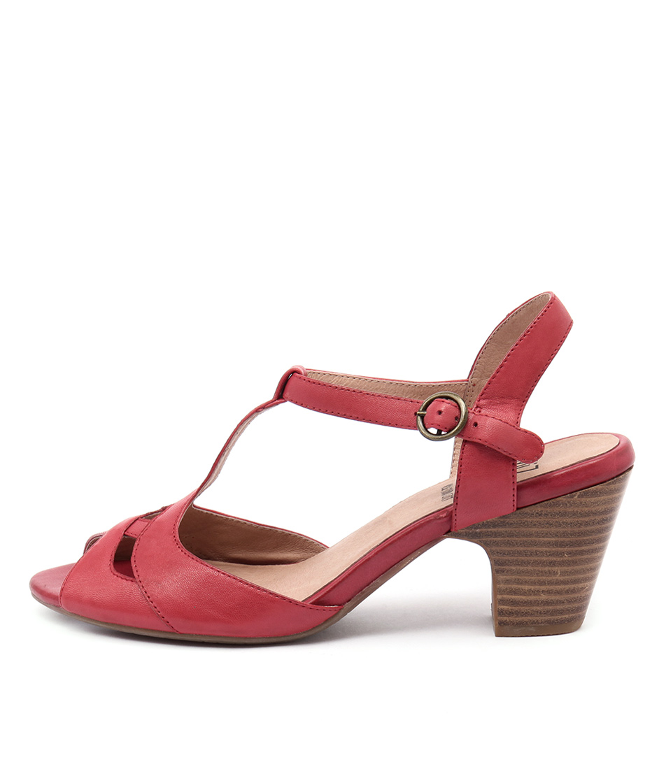 Miz Mooz Pearl Red Casual Heeled Sandals
