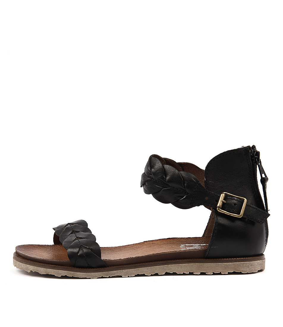 Miz Mooz Taft Black Casual Flat Sandals