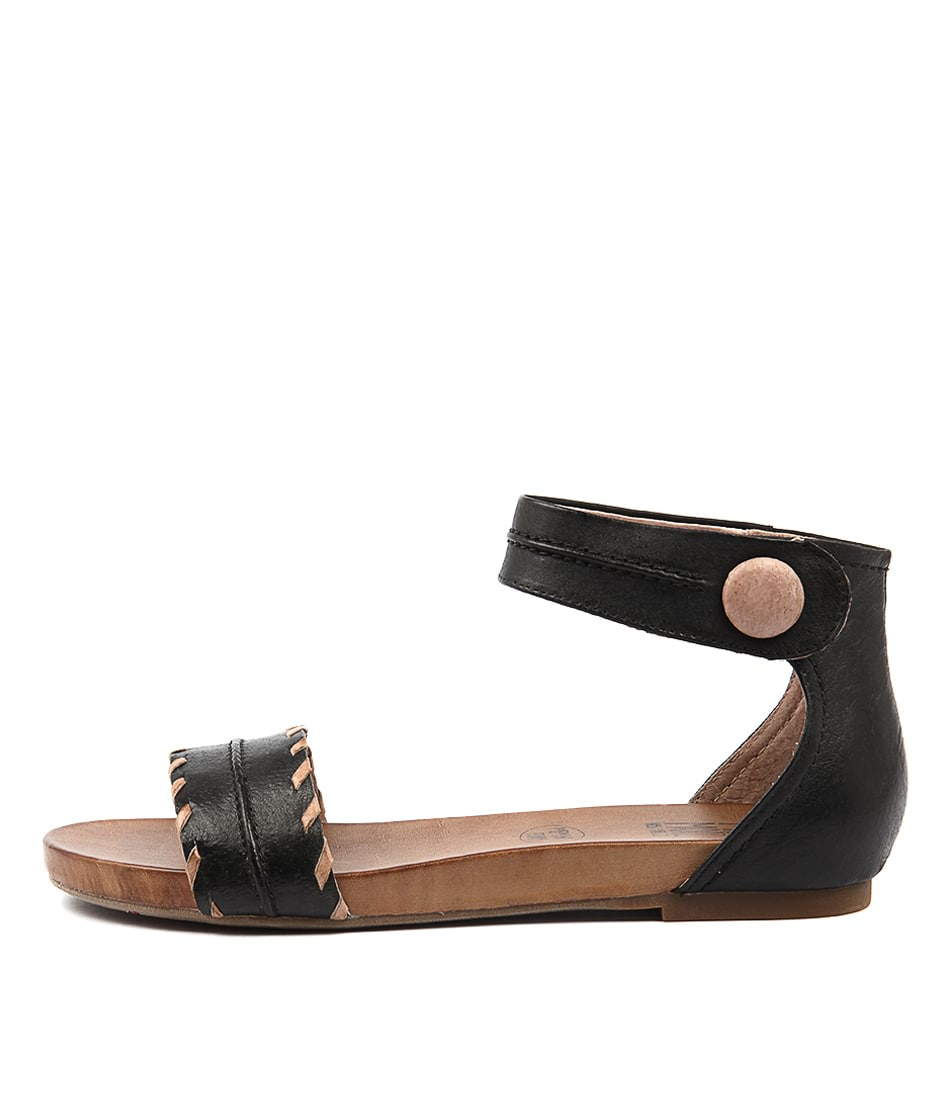 Miz Mooz Alexi Black Casual Flat Sandals