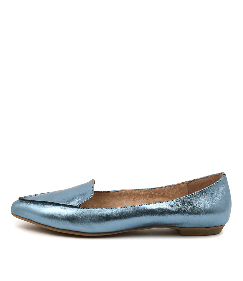 buy Mollini Gyro Mid Blue Metallic Flat Shoes shop Mollini Flats online