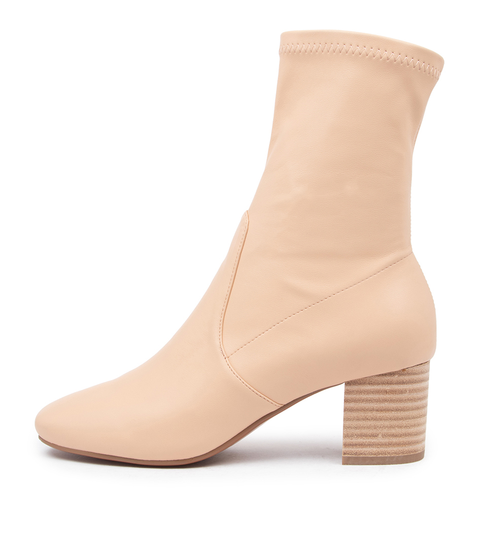 Buy Mollini Careful Beige Natural Heel Ankle Boots online with free shipping