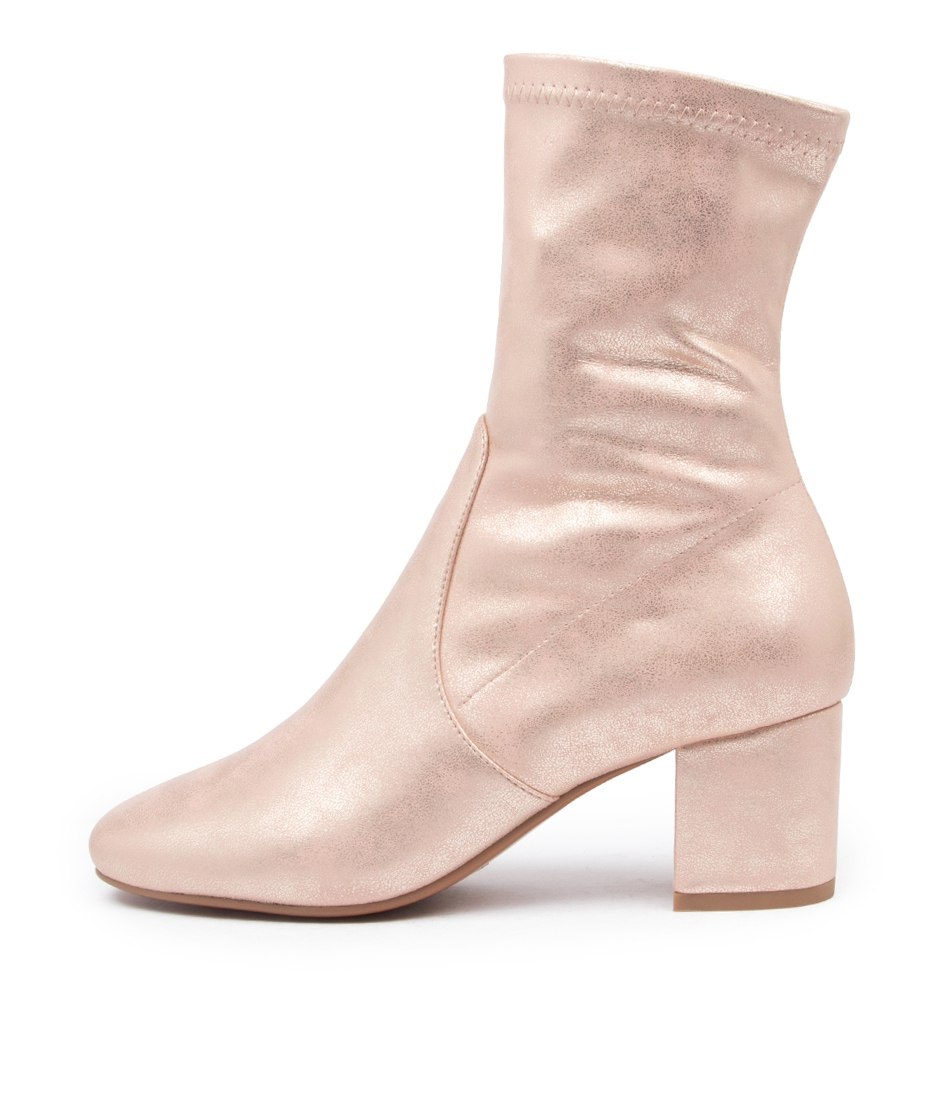 Buy Mollini Careful Pale Pink Metal Ankle Boots online with free shipping