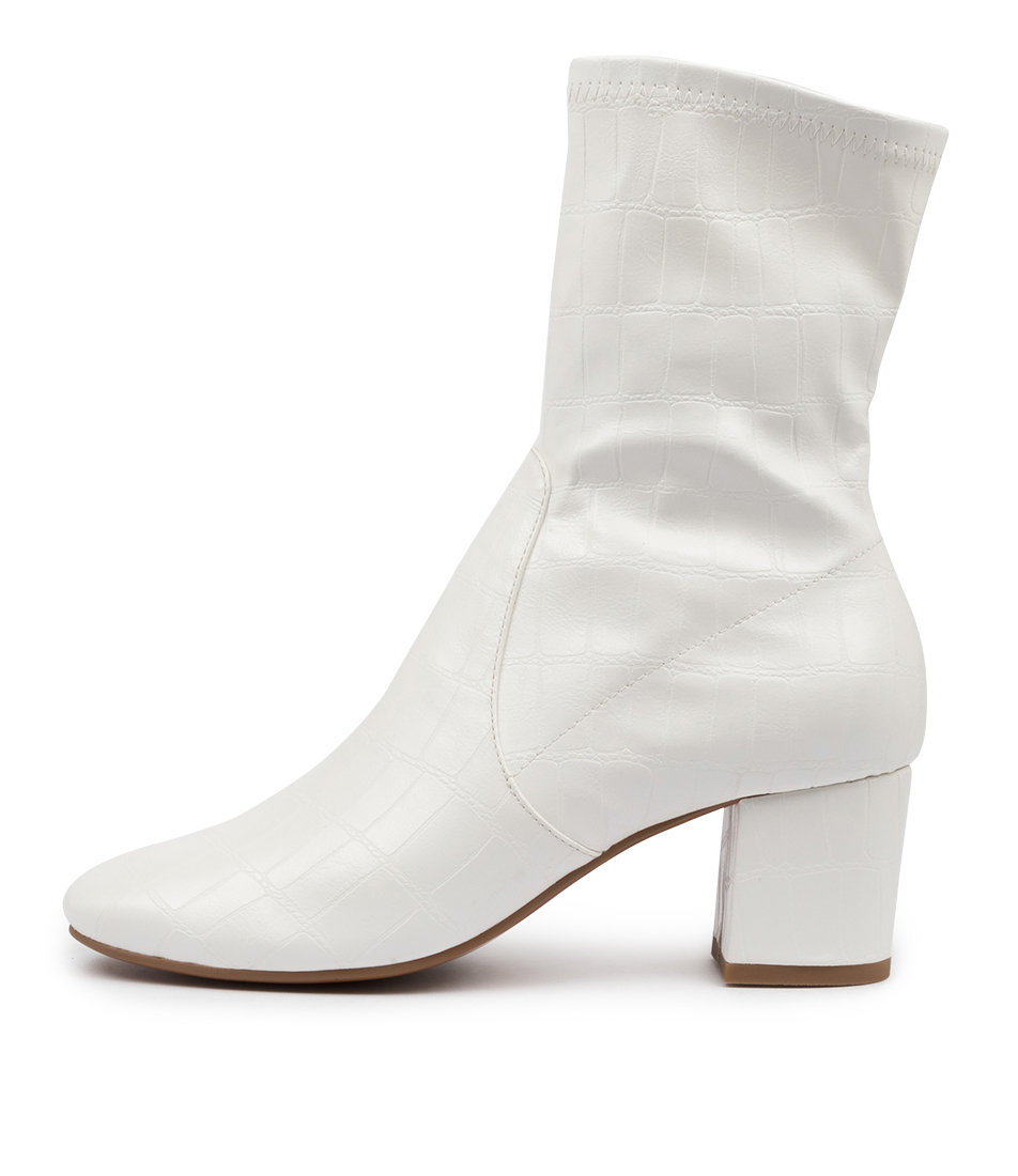 Buy Mollini Careful White Ankle Boots online with free shipping