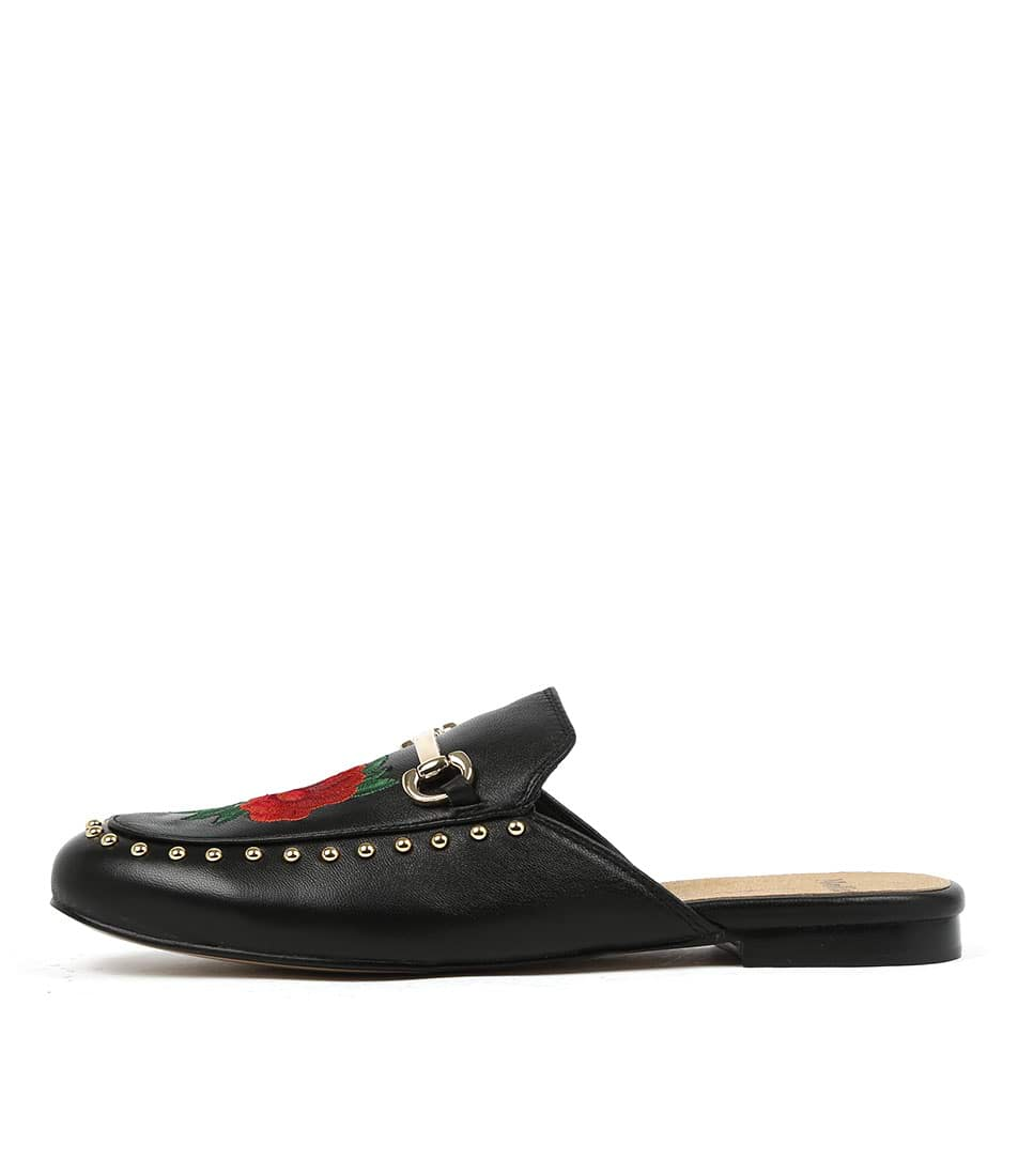 Mollini Grover Black Red Embroidery Flat Shoes