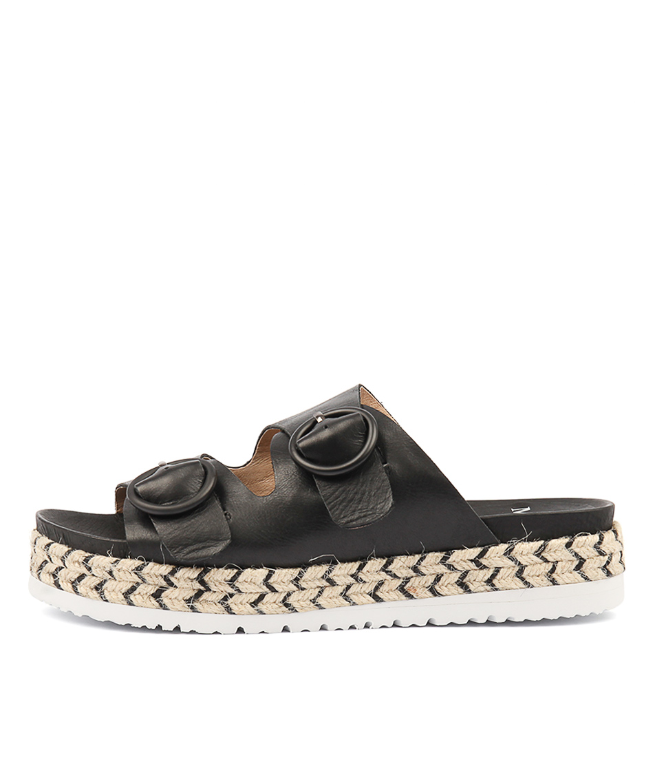 Buy Mollini Joist Black Flat Sandals online with free shipping