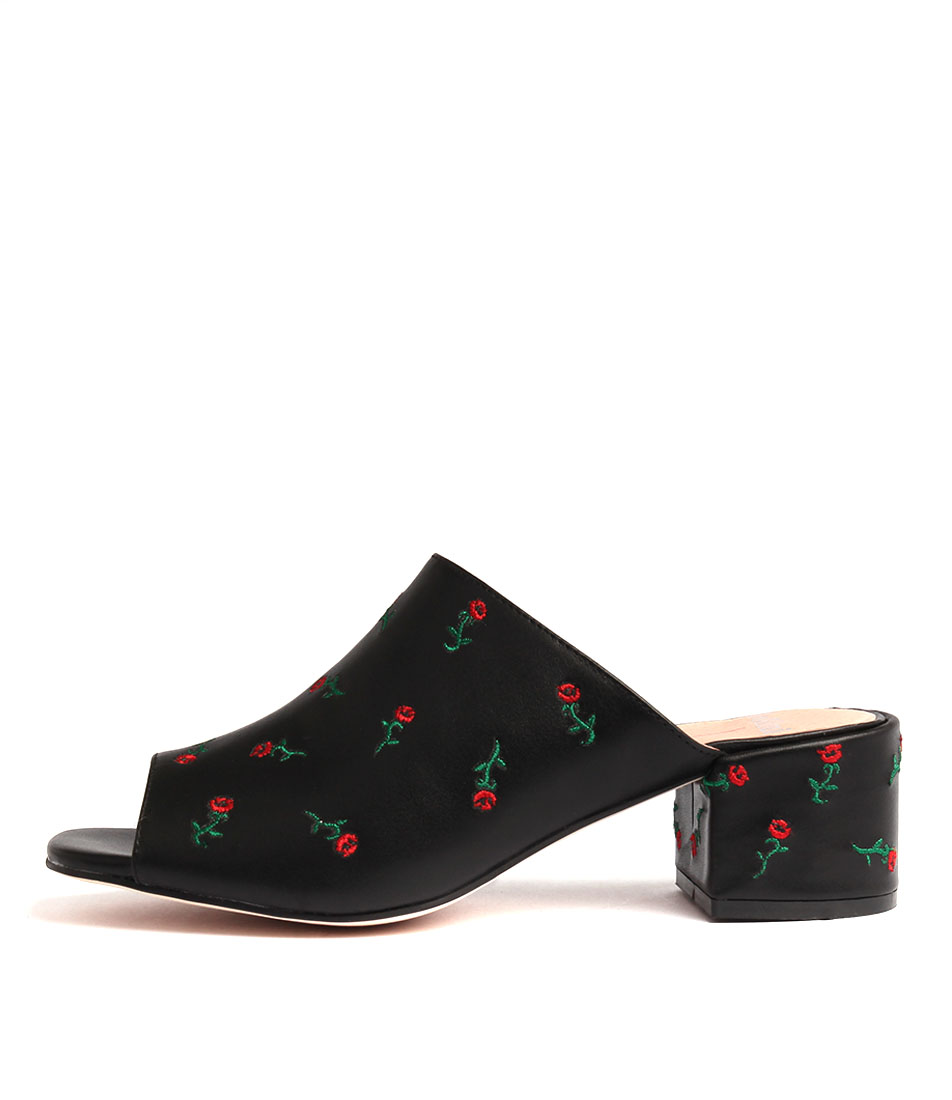 Mollini Twein Black Red Heeled Sandals