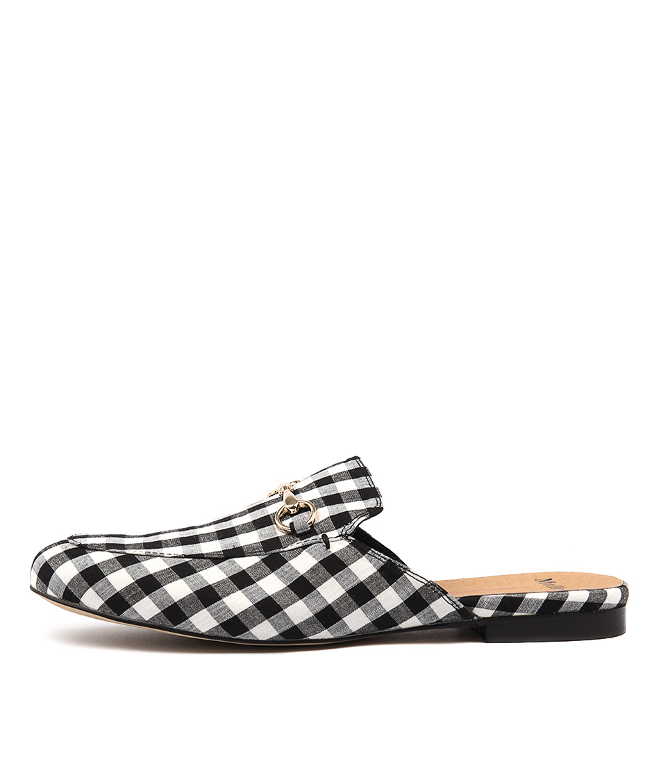 Mollini Gingham Black White Flat Shoes