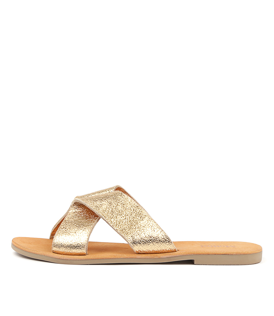 Buy Mollini Hannah Mo Gold Flat Sandals online with free shipping