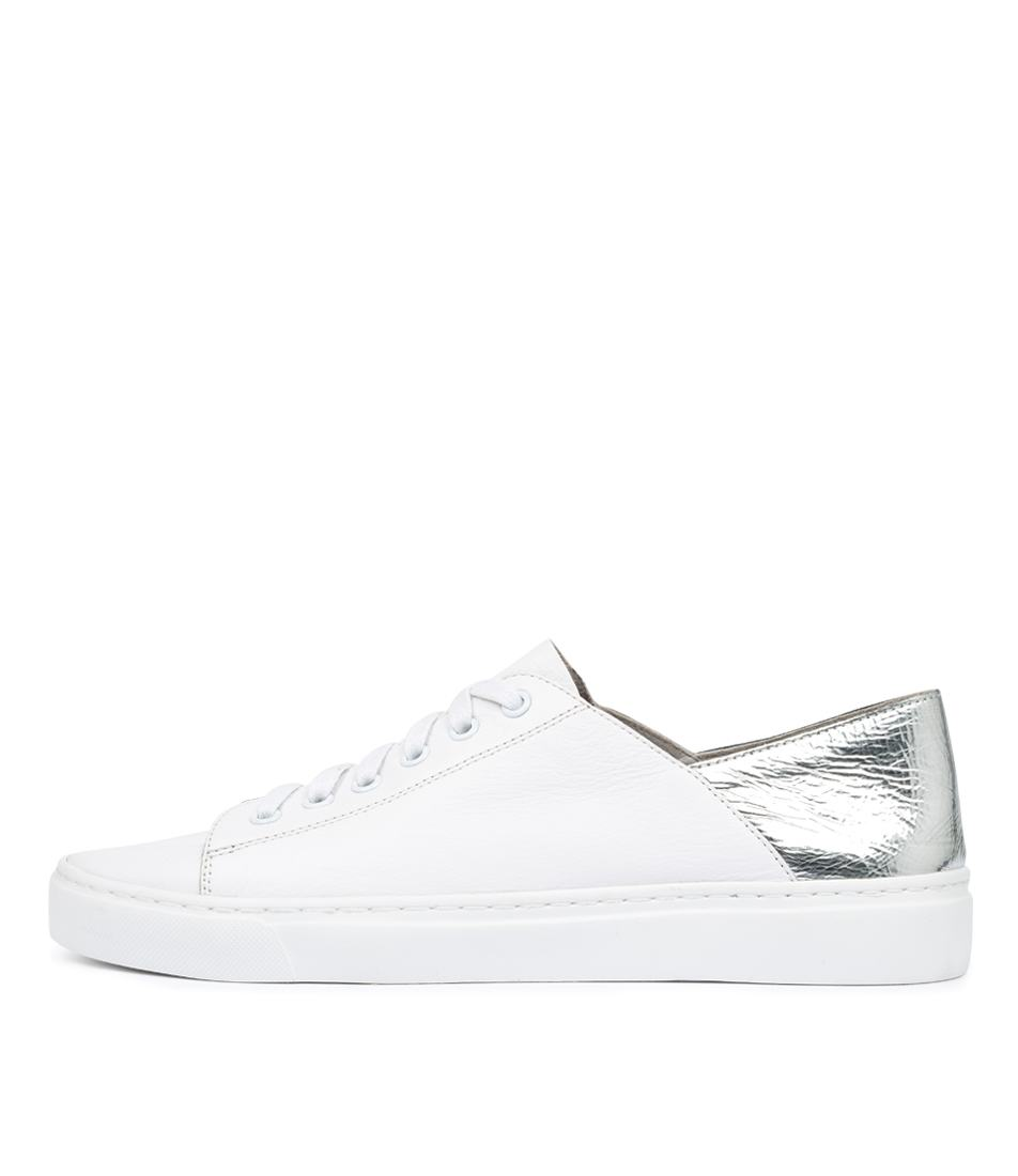 Buy Mollini Oskher White Silver Foil Sneakers online with free shipping