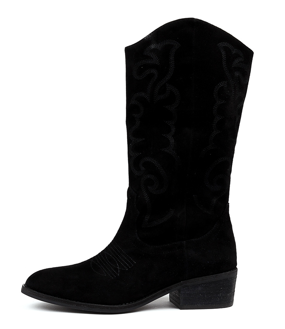 Buy Mollini Zoelle Black Embroidery Boots online with free shipping